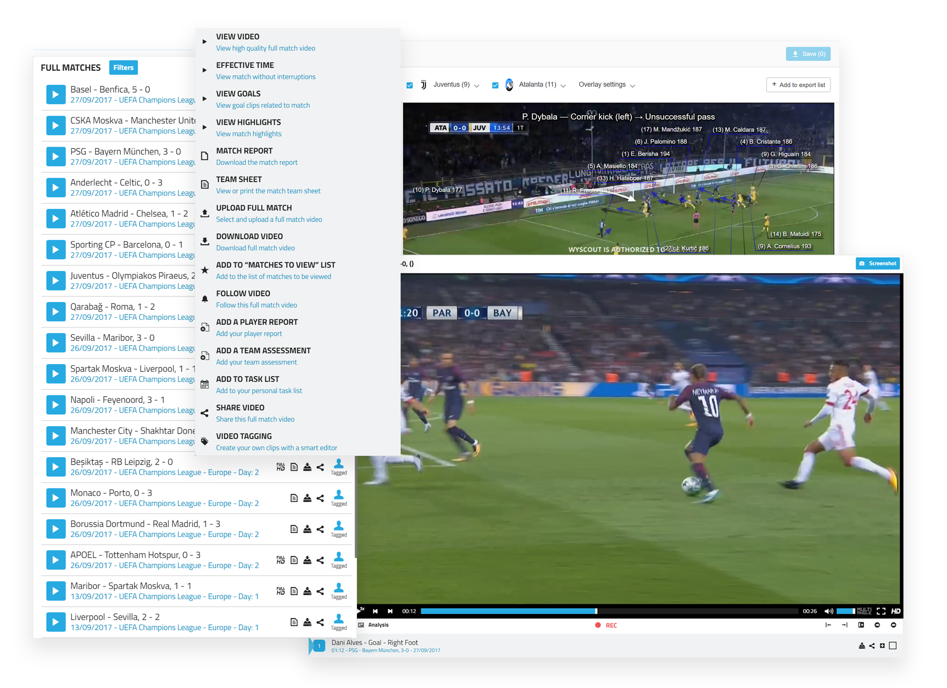 Professional Football Platform for Football Analysis - Wyscout